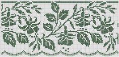 Free chart for cross-stitch, filet crochet. Filet Crochet Charts, Crochet Borders, Crochet Cross, Crochet Motif, Crochet Stitches, Crochet Patterns, Crochet Flor, Cross Stitch Borders, Cross Stitch Charts