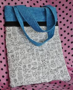 Black & White Kitty Cat Bag by PolkaDotPouches on Etsy, $25.00 Cat Bag, Small Tote Bags, Diaper Bag, Polka Dots, Pouch, Kitty, Black And White, Trending Outfits, Cats