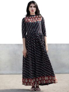 Indigo Red White Ivory Hand Block Printed Long Cotton Dress With Stand Collar and Pintuck - Cotton Long Dress, Cotton Dresses, Long Frock, Kurti Patterns, Printed Gowns, Nice Dresses, Awesome Dresses, Beautiful Dresses, Buy Dresses Online
