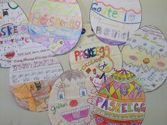 Py 2&3 Uke 15: Elevene har funnet påskeord og brukt dem i dekorasjon av påskeegg:) Ble de ikke fine:)