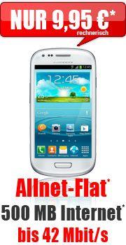 #S3mini + Allnet Flat 500 MB 9,95 mit E-Plus #Tele2 #Allnet Flat Smart 14.95 Aktion Vertrag!