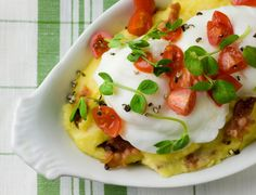 Gojee - Poached Eggs with Bacon Polenta and Cherry Tomatoes by Framed Cooks