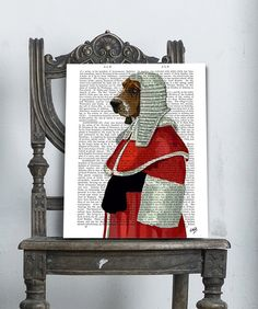 Judge Dog Portrait basset hound Art Print mixed media painting dictionary page book poster illustration drawing humor