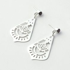 Mehndi mandala earrings with rose garnets - cut out by hand in sterling silver.