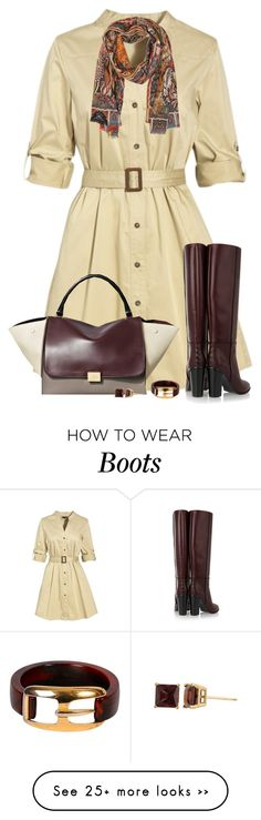 """Tall Boots and Dress"" by daiscat on Polyvore featuring Jaeger, Proenza Schouler, CÉLINE, Etro, Zales and Trifari"