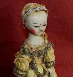 Queen Anne doll reproduction , wooden ,jointed doll ,by The Old Wooden Sisters