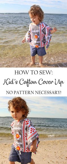 How to sew a Kid's Caftan Cover Up. No pattern necessary! #sewing #sew
