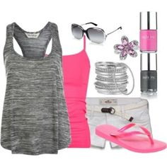 Summer outfit!!! Camisole under a solid razor back tank top cute shorts flip flops or sandals and some jewelry to finish the look!!! http://amzn.to/2slPXII