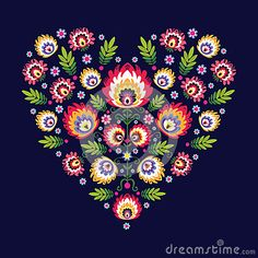 Polish folk design, pattern heart