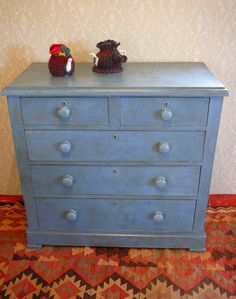This Victorian pine chest of drawers has been painted in Annie Sloan's Greek Blue and aged. The interior is painted in Farrow and Ball Berrington Blue. £235