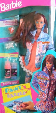 I am pretty sure I had this Barbie, or brenna did and I wished it was mine;)  Barbies Lovers: Barbie Paint 'N Dazzle Doll Set (Redhead 1993) 1990's toys