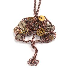 Wire Tree Pendant with Watch Gears Steampunk by CuriousJewelry
