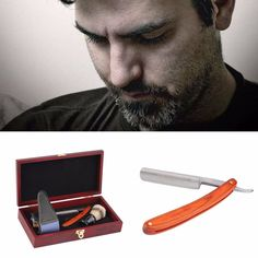 Straight Razor Shaving Box Kit (Straight Razor, Brush, and Leather Strop)