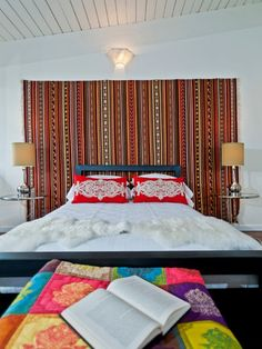 Bedroom With White Walls And Stripes Tapestry Wall Decor