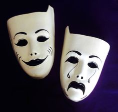 Classic Comedy and Tragedy Theater Masks Handmade by BarbsBazaar