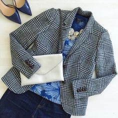 """""""Tuesday Blues #a_classic_touch #wearwhatwhereoctober #ootd #jotd #aotd #sotd #highheels #blazer #envelopeclutch #statementnecklace #fblogger #fashionblogger #fallfashion #prep #preppy #jcrew #darkflorals"""" Photo taken by @a_classic_touch on Instagram, pinned via the InstaPin iOS App! http://www.instapinapp.com (10/13/2015)"""