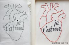 Make a modern anatomical heart with this template for your T-Shirts this Valentines Day!  Free embroidery or freezer paper stencil print out...