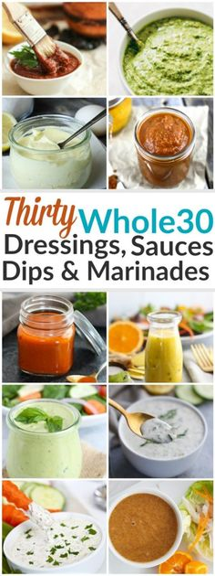 Whether it's dipping, dunking or drizzling you're after - we've got it all here with these 30 Whole30 Dressings, Sauces & Marinades | https://therealfoodrds.com/30-whole30-dressings-sauces-marinades/