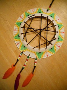"""* Super Simple Dream Catcher - uses a paper plate, a hole punch, scissors, yarn (4 12"""" pieces and one 48"""" piece), clear tape, pony beads, feathers (about 3 1/2 - 4"""" long) and markers."""