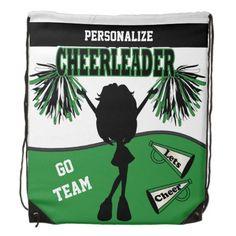 #Cheerleader Personalize   Green White Black Drawstring #Backpacks #zazzlebesties #zazzle #gifts