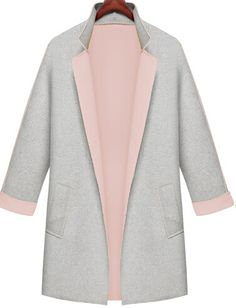 Shop Grey Contrast Pink Collar Loose Pockets Coat online. Sheinside offers Grey Contrast Pink Collar Loose Pockets Coat & more to fit your fashionable needs. Free Shipping Worldwide!