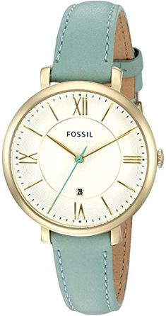 Fossil Women's ES3987 Jacqueline Date Green Leather Watch. Gold-tone watch featuring textured dial with scalloped border, contrast second hand, and date display above 6 o'clock position. 36 mm stainless steel case with mineral dial window. Quartz movement with analog display. Leather band with buckle closure. Water resistant to 30m (100ft): In general, withstands splashes or brief immersion in water, but not suitable for swimming or bathing.