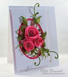 Framed Rolled Roses by kittie747 - Cards and Paper Crafts at Splitcoaststampers