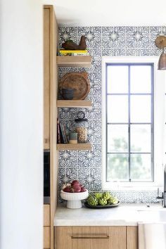 Stone Countertops, Kitchen Countertops, Kitchen Cabinets, Traditional Home Magazine, Oak Floating Shelves, Herringbone Wood Floor, Kitchen Dining Living, Kitchen Views, Upper Cabinets