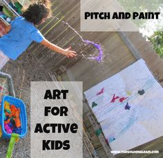 Pitch and Paint: an activity for slightly older kids. Create epic artwork by using tissue paper, water, and just a little energy.