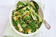 Zucchini and peas with lemon breadcrumbs