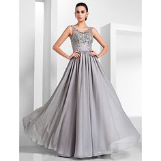 TS+Couture®+Formal+Evening+/+Military+Ball+Dress+-+Silver+Plus+Sizes+/+Petite+A-line+/+Princess+V-neck+Floor-length+Chiffon+/+Tulle+–+USD+$+109.99