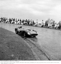 German driver Wolfgang von Trips at the Futa Pass in his Ferrari 315S during the Mille Miglia. He finished second in the race. (1957)