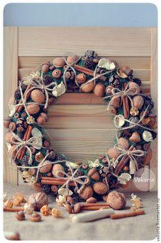 Wreath Chaplet - shabby chic - - eco-friendly - - rustic- home decor Fall Wreaths, Christmas Wreaths, Christmas Decorations, Xmas, Holiday Decor, Wine Cork Wreath, Christmas Tablescapes, Nature Crafts, Shabby Chic Decor