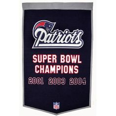 """New England Patriots Dynasty Banner by Winning Streak. $49.99. Genuine wool blend fabric.. A uniquely hand-crafted, vintage style, wool banner featuring intricate embroidery and applique design detail.. One 38"""" x 24"""" NFL licensed wool banner commemorating the Superbowl Championships.. NFL New England Patriots Dynasty Banner"""