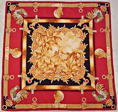 Vintage must de cartier paris jewelry art birds red brown silk 34