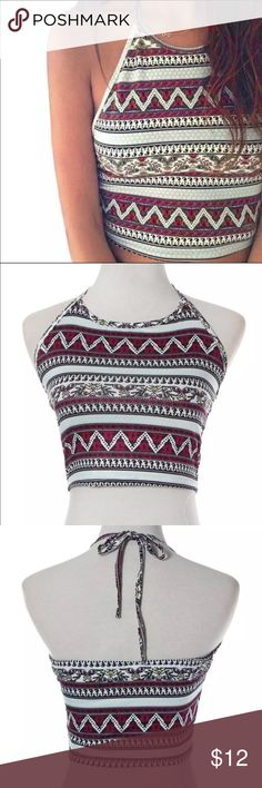 """Halter Top Brand New! ❣ Halter Tops ❣ •Printed Halter Crop Tops ! Perfect for summer!!   Material: Polyester  Collar: Round Collar  Sleeve Length: Sleeveless  *Please allow 2-3"""" difference for size measurements due to manual measurements . Tops Crop Tops"""