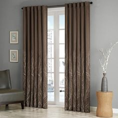 Madison Park Andora Window Curtain Panel In Chocolate - Incorporate nature's beauty into your home with the Andora Window Curtain Panel. A pattern of branches extends from the bottom of the panel to the top, creating the illusion of tree tops in the wind. Faux Silk Curtains, Tab Curtains, Brown Curtains, Rod Pocket Curtains, Rideaux Design, Brown Couch, Thing 1, Brown Furniture, Panel Bed