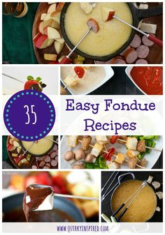 Easy fondue recipes are the perfect way to ring in the New Year or to celebrate Valentine's Day. Great collection of cheese fondue, oil fondue, and of course chocolate fondue recipes! Easy fondue recipes are the perfect way to ring in the Ne Fondue Recipes, Appetizer Recipes, Cooking Recipes, Appetizers, Fondue Ideas, Kabob Recipes, Healthy Recipes, Meal Recipes, Recipes Dinner