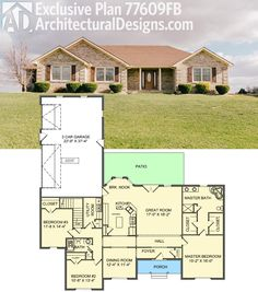 Architectural Designs Exclusive House Plan 77609FB gives you 3 beds, a split bed layout and an open floor plan core. Around 2,000 sq. ft. of heated living space. Ready when you are. Where do YOU want to build?