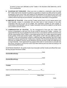 Printable Sample trust agreement Form