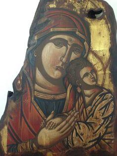 """Δια χειρός Χαράλαμπος κ' Φλώρα """"Παναγία του Πάθους"""" """"Virgin of the Passion"""" Egg tempera on wood. 39 x 50 cm"""