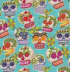 turquoise sugar skull fabric:)