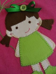Little girl applique - you can make with Felt