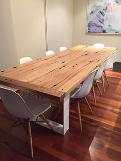 Beach house table recycled Blackbutt with steel legs