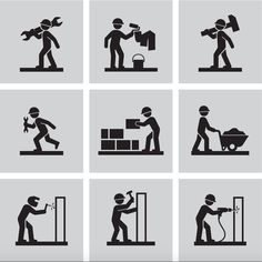 Find Man People Working Construction Carrying Building Industry Painting Sawing Hard Labor Pictogram Icon Symbol Sign Stock Images in HD and millions of other royalty-free stock photos, illustrations, and vectors in the Shutterstock collection. Woodworking For Dummies, Woodworking Software, Woodworking School, Woodworking For Kids, Woodworking Logo, Woodworking Classes, Handyman Logo, Cricut Craft Room, House Drawing