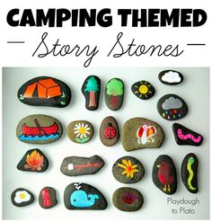 I love these!! Camping Themed Story Stones - cute rock crafting idea