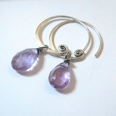 Violet Amethyst Silver Spiral Hoop Earrings  by SilverRanch, $79.00