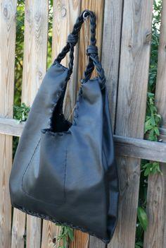 Black Leather Hobo Bag  Every day Shopping Bag  by EleannaKatsira