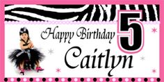 Super Cute Zebra theme birthday banner that you can personalize and upload your photo to.  See it on http://www.bannergrams.com