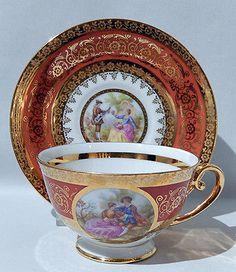 1960s HUTSCHENREUTHER FRAGONARD LOVE STORY Cabinet Set CUP & SAUCER - Mint Cond